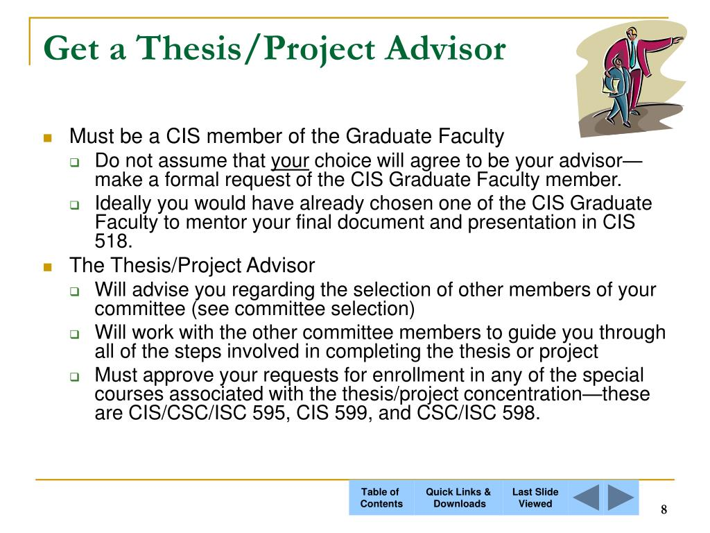 Get a Thesis/Project Advisor