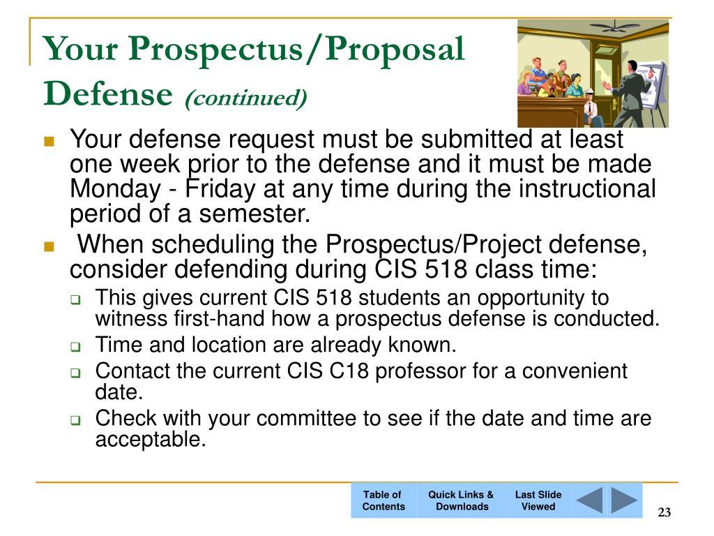 Your Prospectus/Proposal