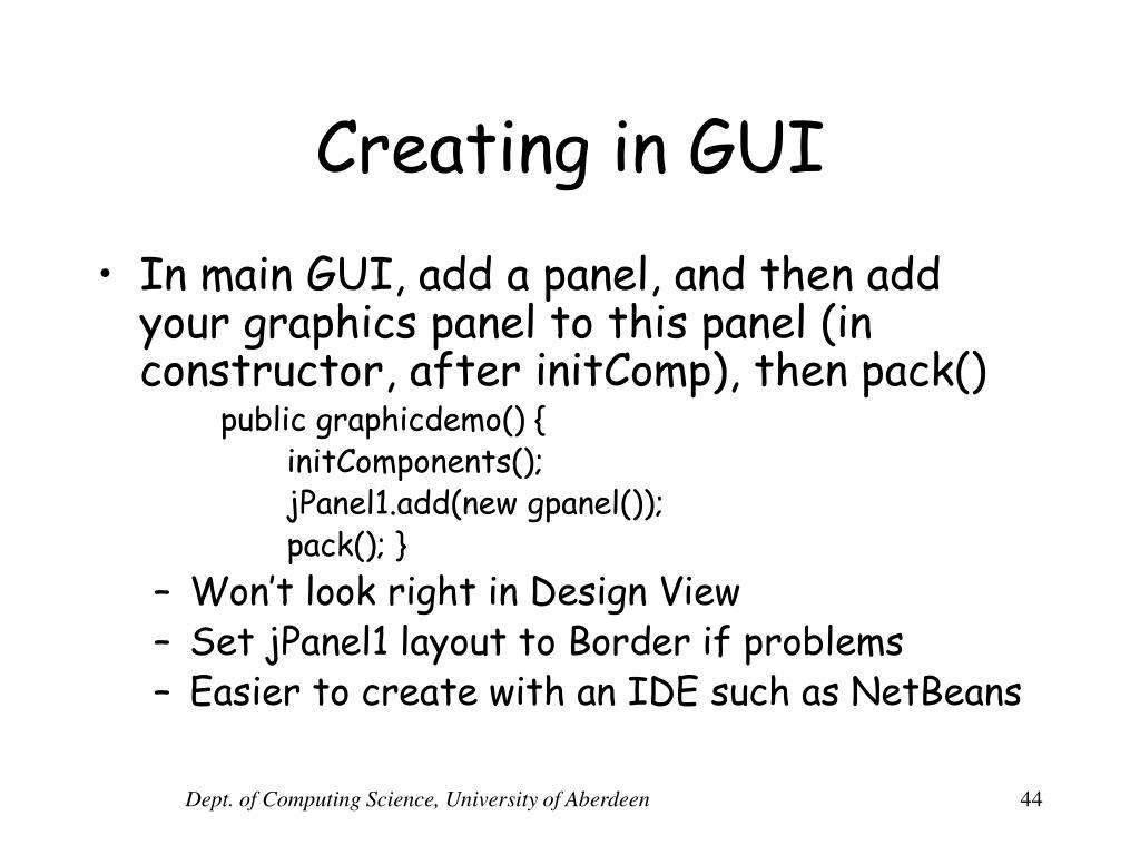 Creating in GUI