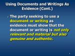 using documents and writings as evidence cont