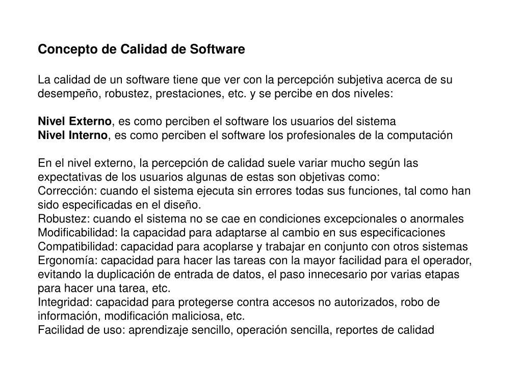 Concepto de Calidad de Software