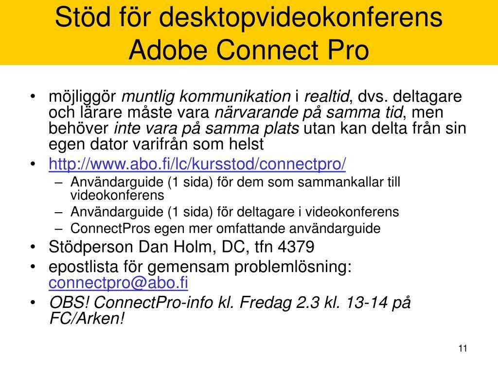 Stöd för desktopvideokonferens
