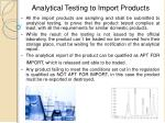 analytical testing to import products