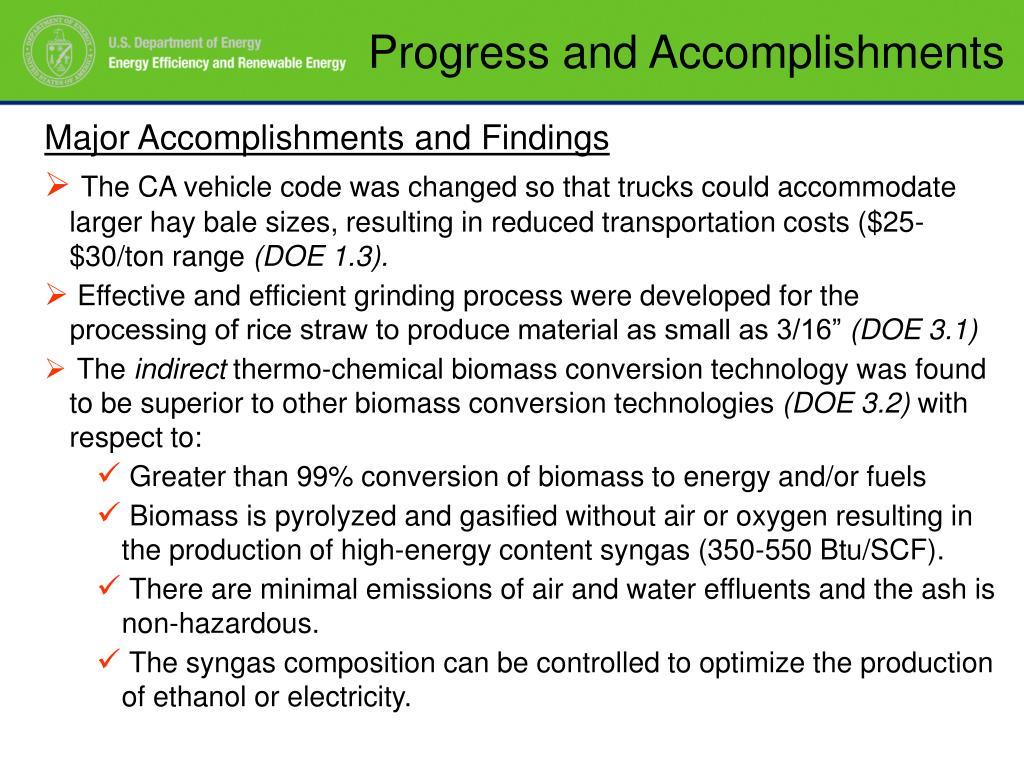 Progress and Accomplishments