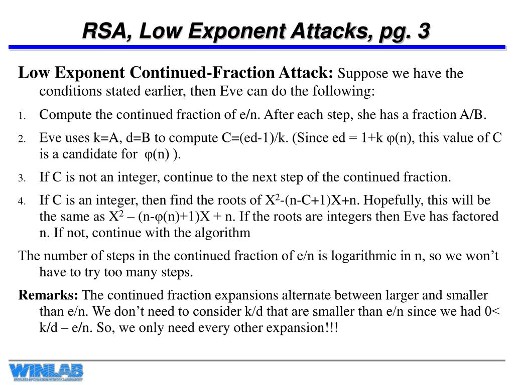 RSA, Low Exponent Attacks, pg. 3