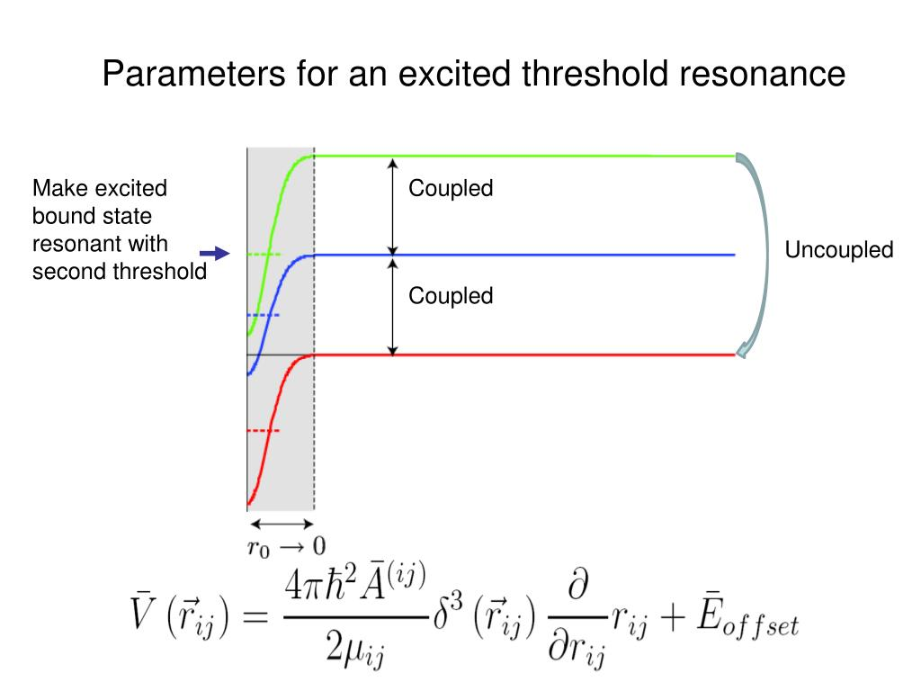 Parameters for an excited threshold resonance