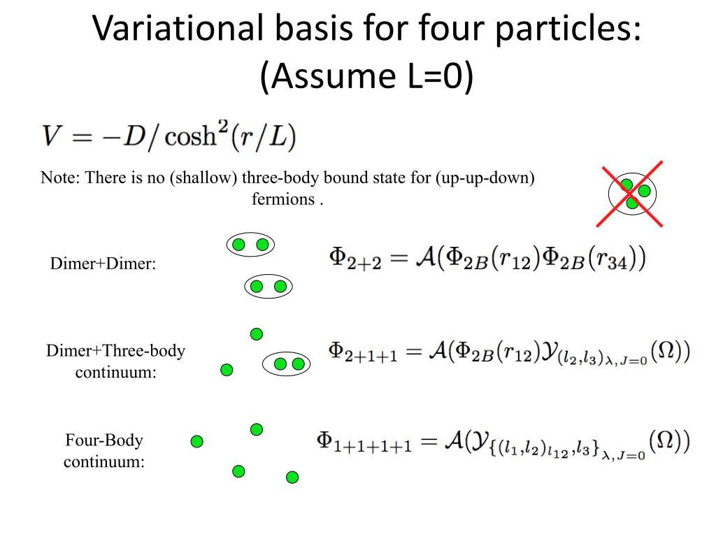 Note: There is no (shallow) three-body bound state for (up-up-down) fermions .
