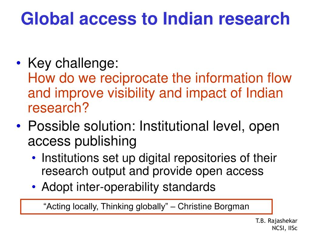 Global access to Indian research