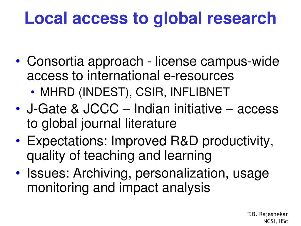 Local access to global research