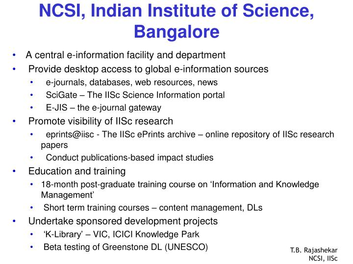 Ncsi indian institute of science bangalore