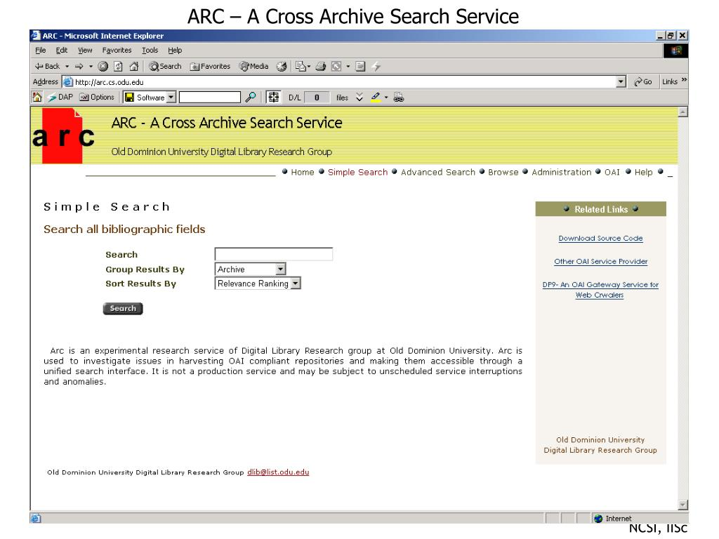 ARC – A Cross Archive Search Service