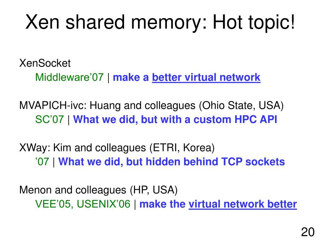 Xen shared memory: Hot topic!