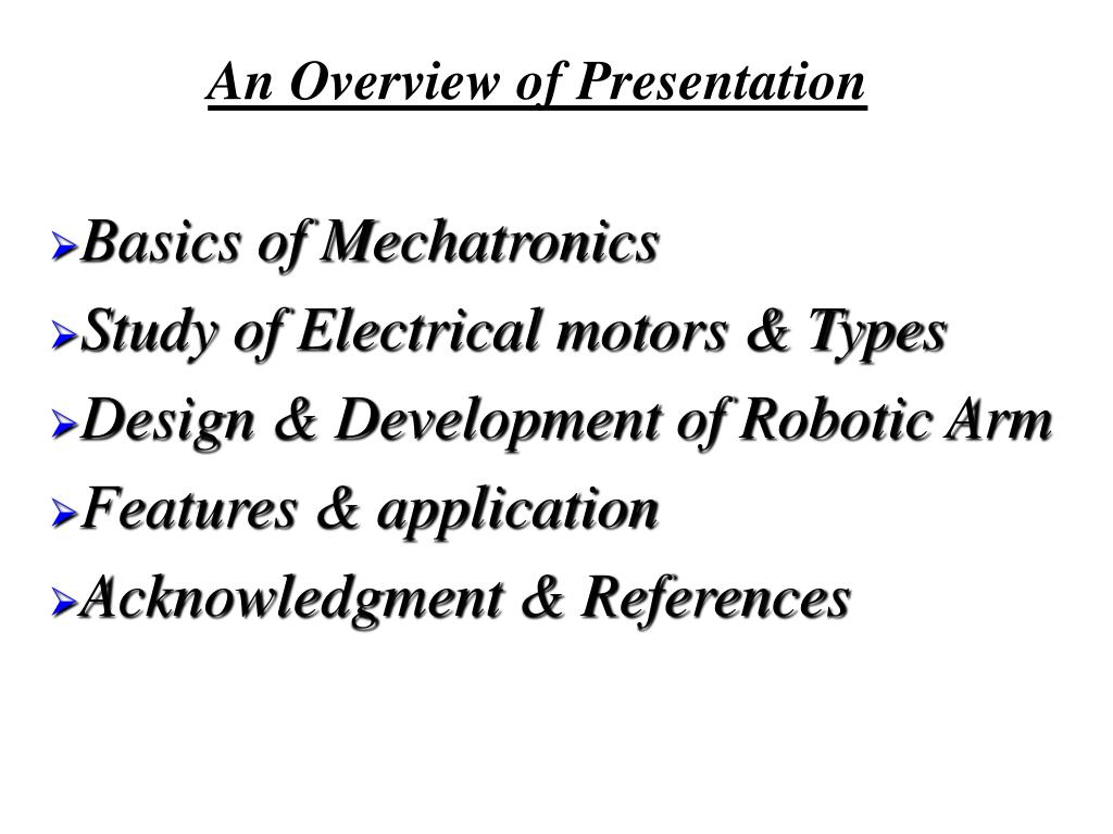 Basics of Mechatronics