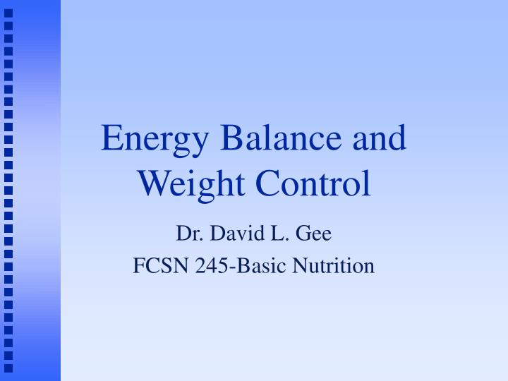 energy balance and weight control n.