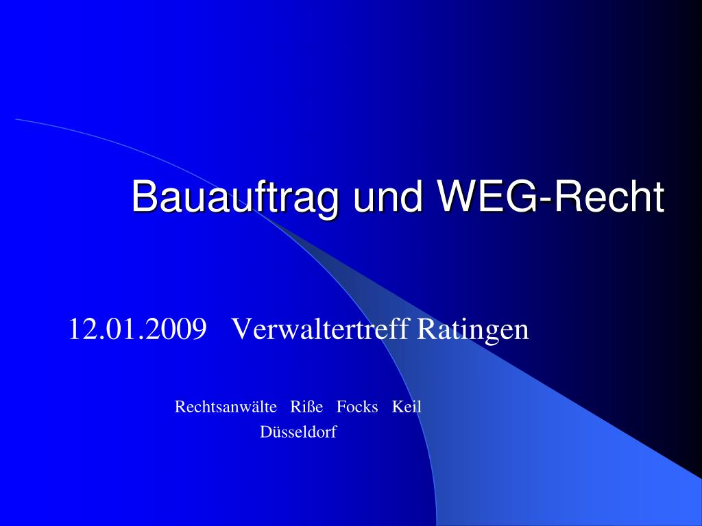 Bauauftrag und WEG-Recht
