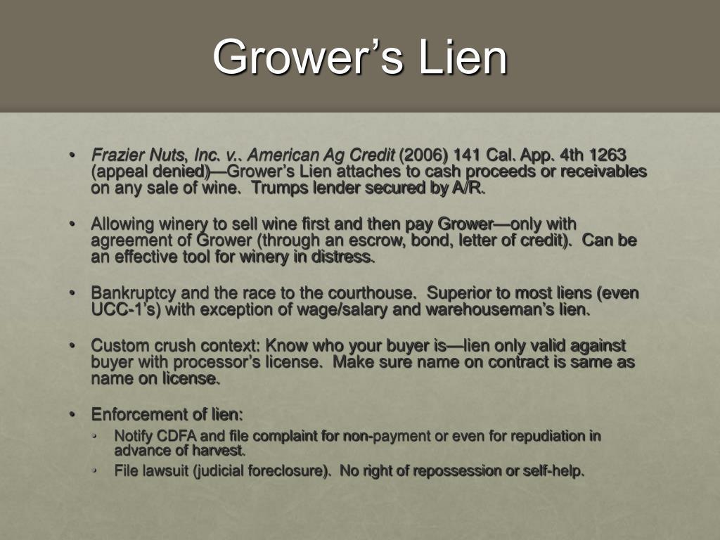 Grower's Lien
