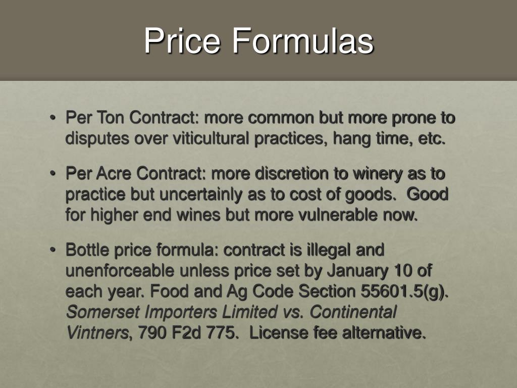 Price Formulas