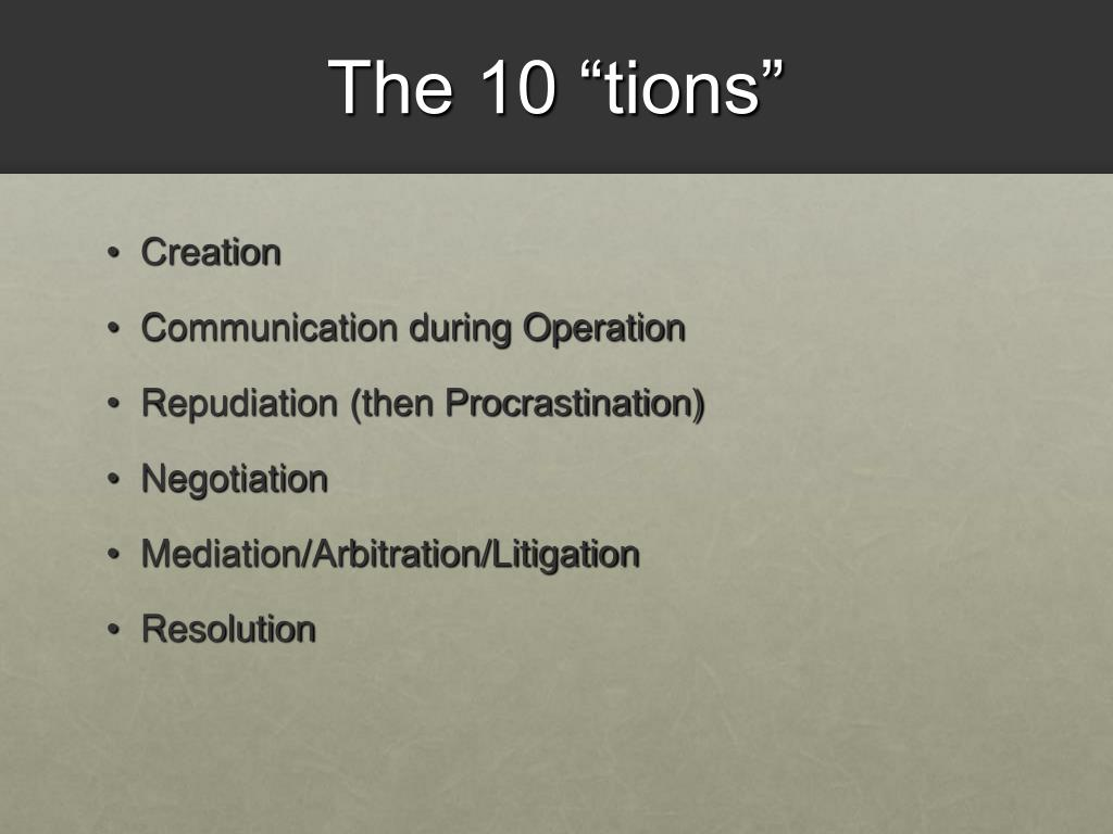 """The 10 """"tions"""""""