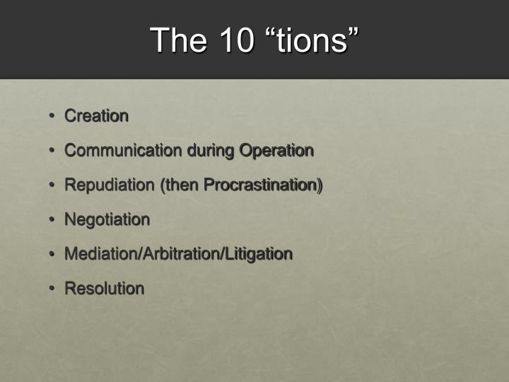 The 10 tions