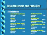 total materials and price list47