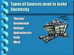types of sources used to make electricity