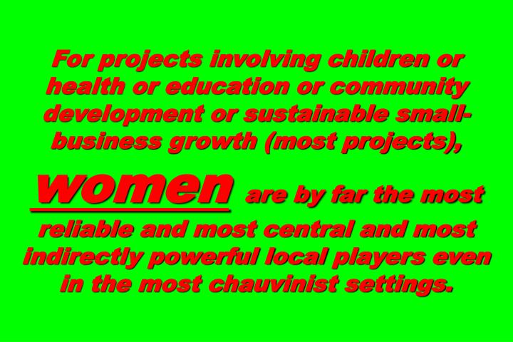 For projects involving children or health or education or community development or sustainable small-business