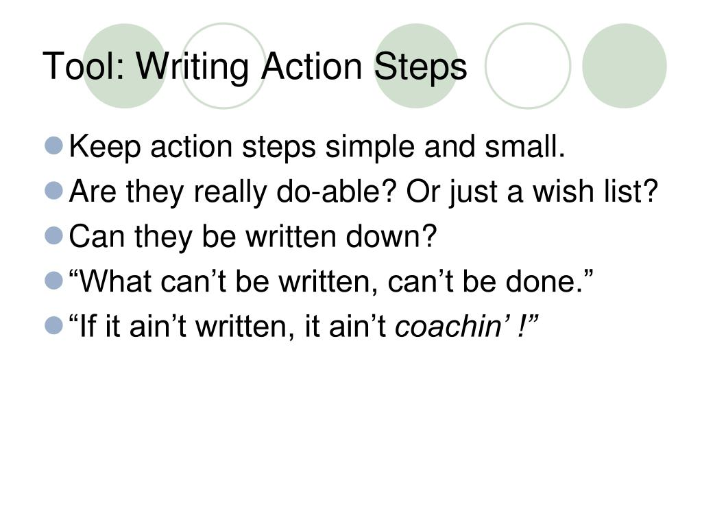 Tool: Writing Action Steps
