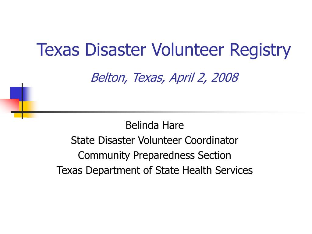 texas disaster volunteer registry belton texas april 2 2008 l.