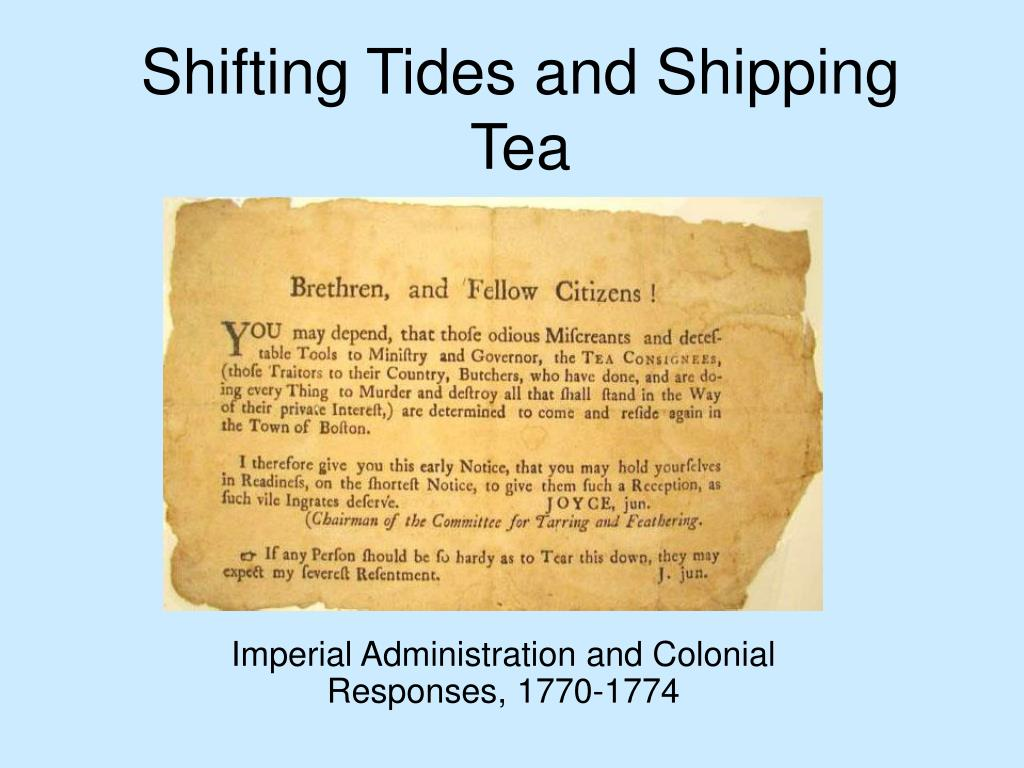 shifting tides and shipping tea l.