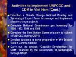 activities to implement unfccc and cdm in viet nam cont