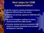 next steps for cdm implementation
