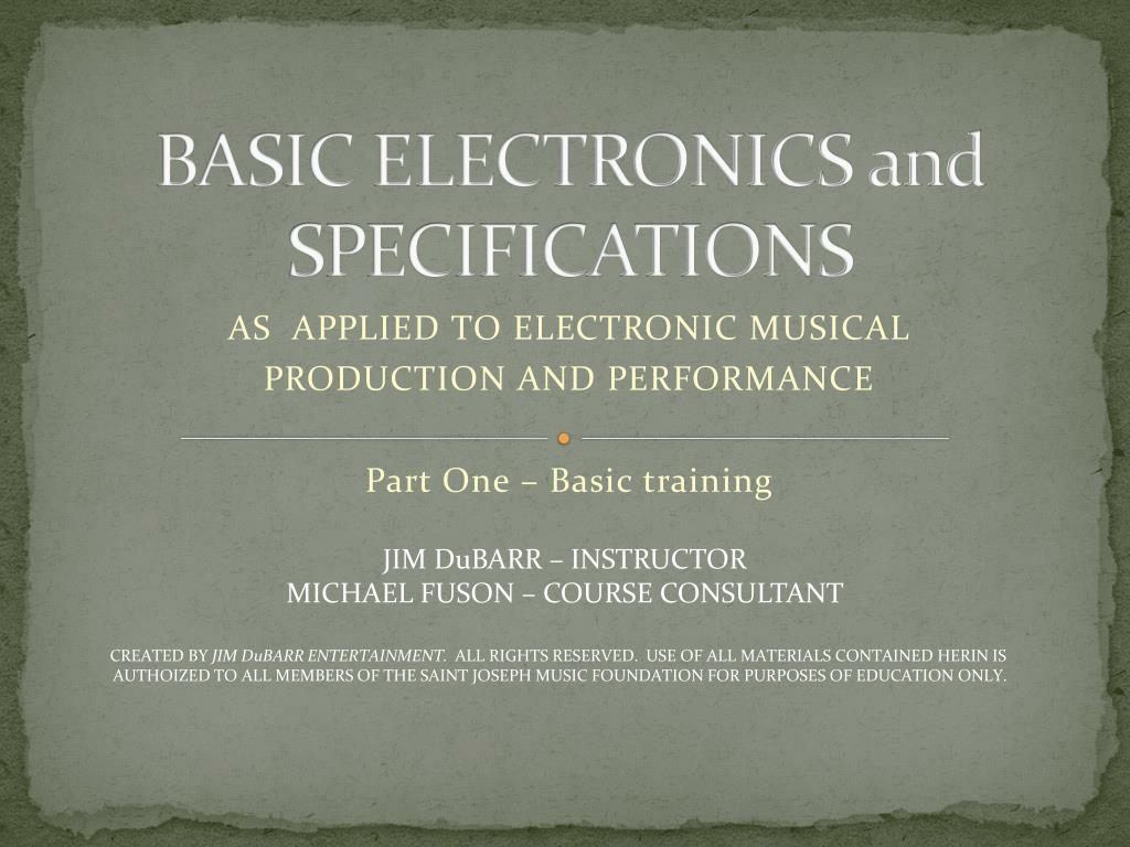 basic electronics and specifications l.