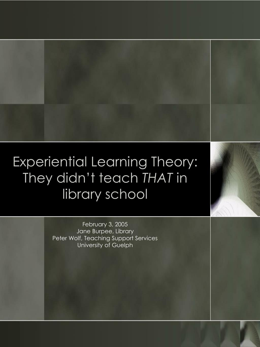experiential learning theory they didn t teach that in library school l.