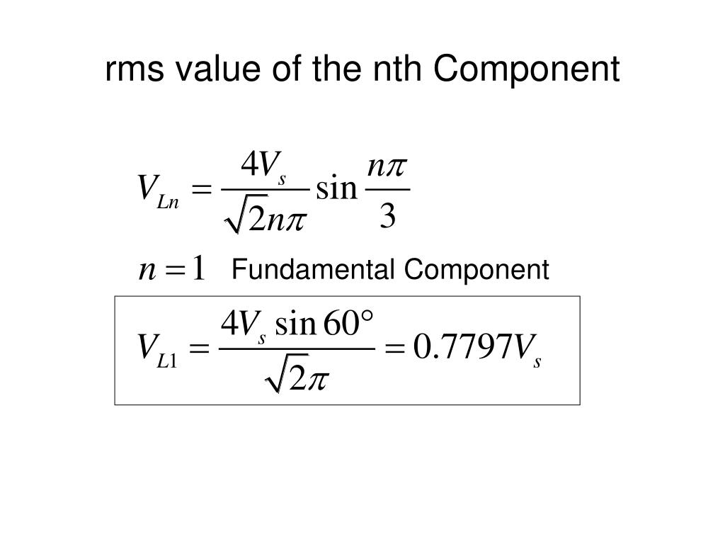 rms value of the nth Component