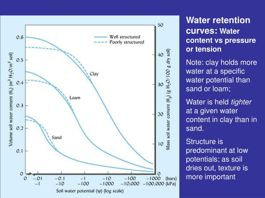 Water retention curves: