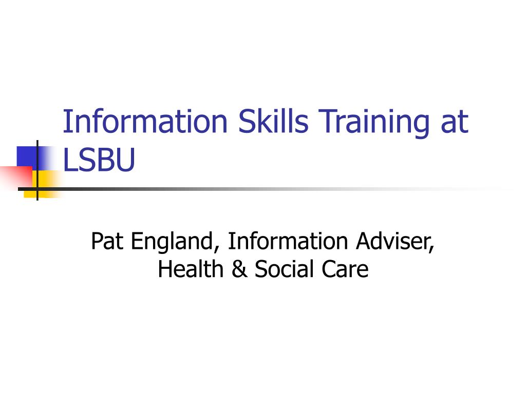 information skills training at lsbu l.