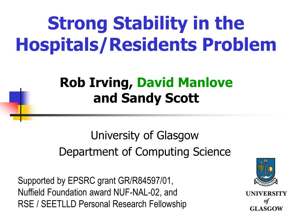 strong stability in the hospitals residents problem l.