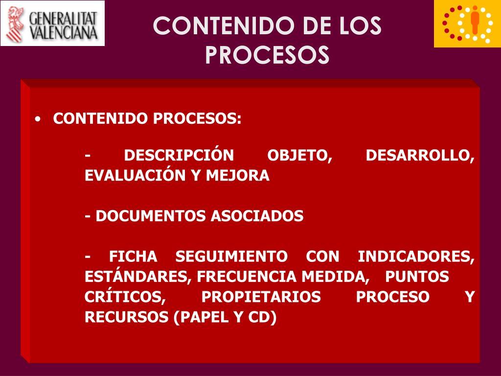 CONTENIDO DE LOS PROCESOS