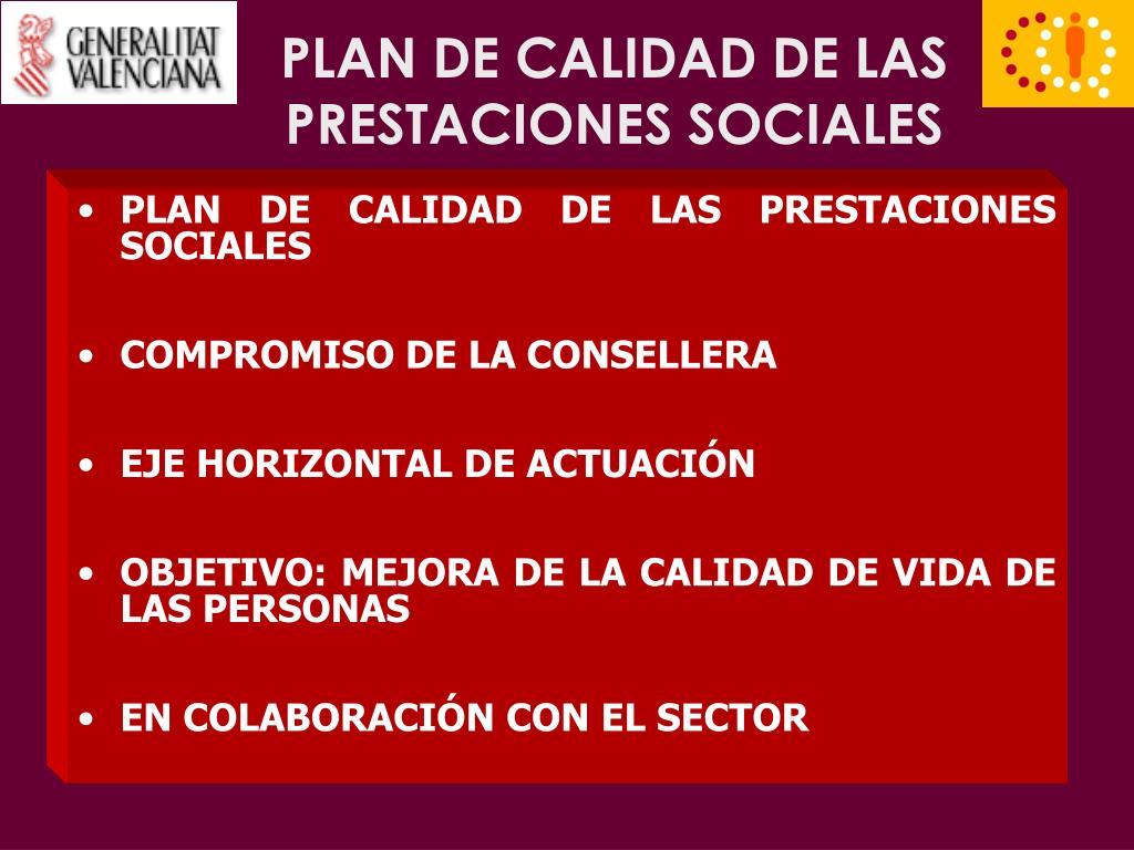 PLAN DE CALIDAD DE LAS PRESTACIONES SOCIALES
