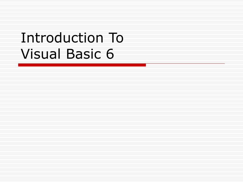 introduction to visual basic 6 l.