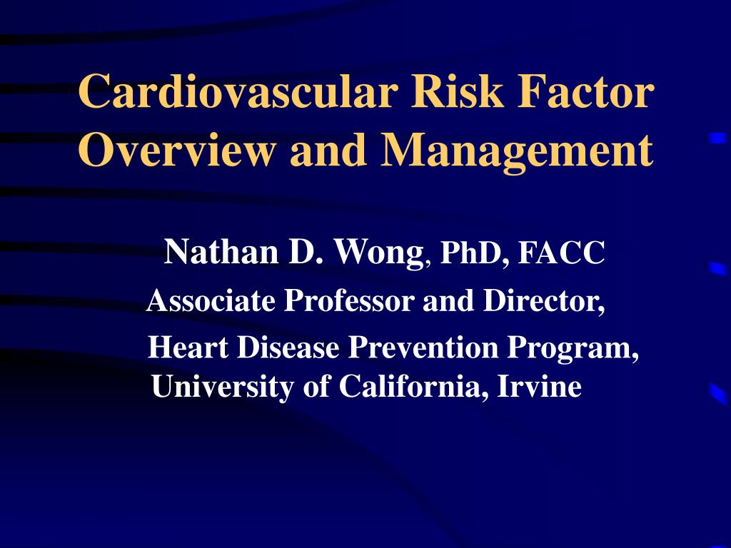 cardiovascular risk factor overview and management l.