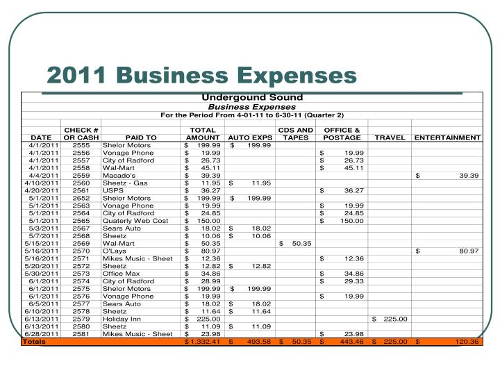 2011 Business Expenses