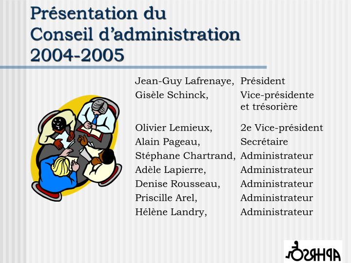 Pr sentation du conseil d administration 2004 2005
