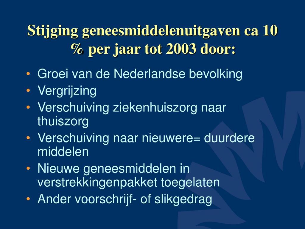 stijging geneesmiddelenuitgaven ca 10 per jaar tot 2003 door l.