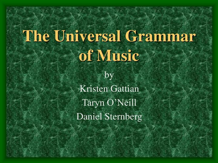 the universal grammar of music n.