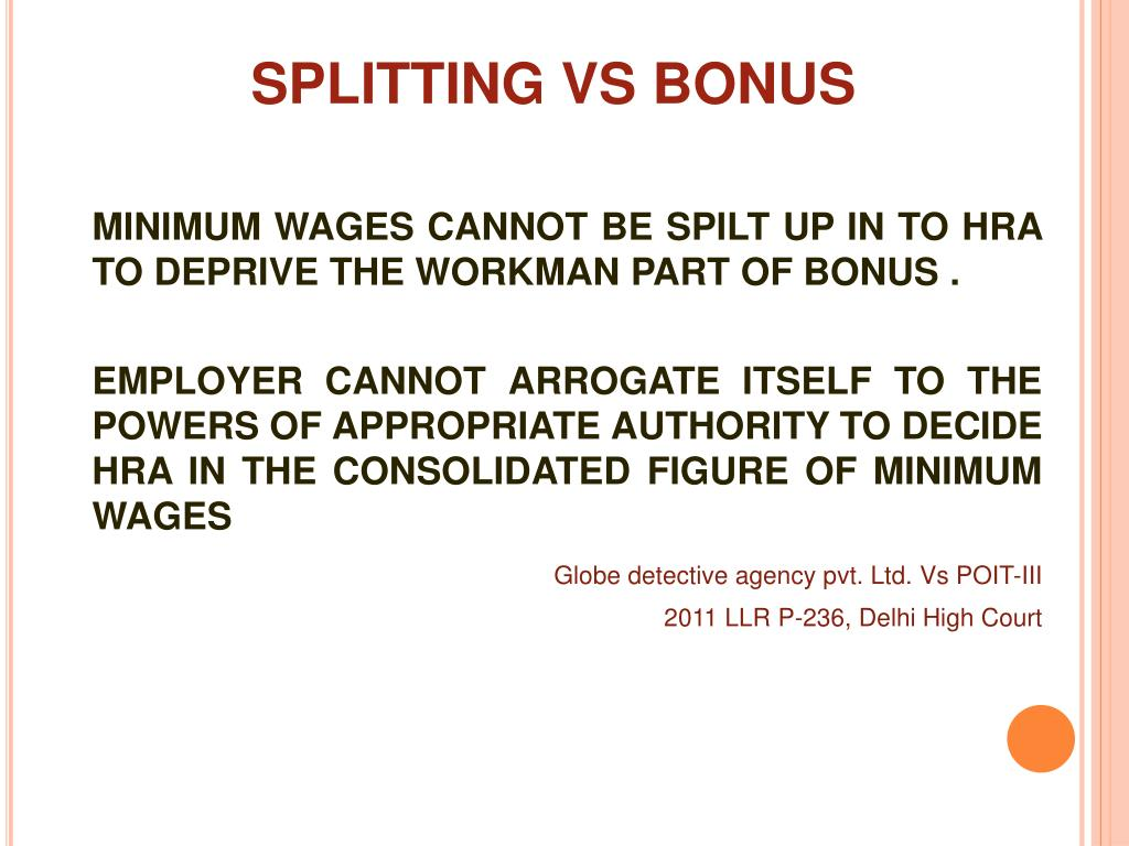 SPLITTING VS BONUS