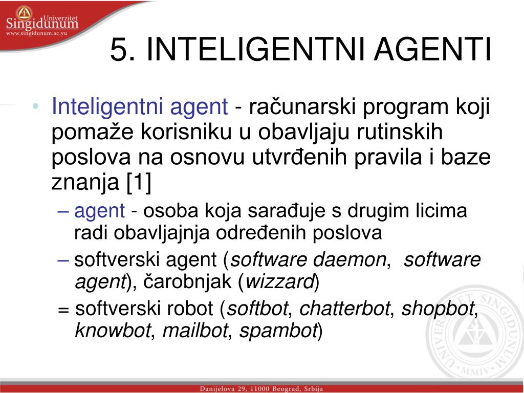 5. INTELIGENTNI AGENTI