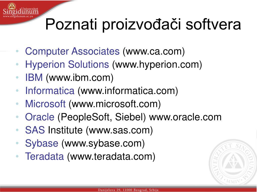 Poznati proizvođači softvera