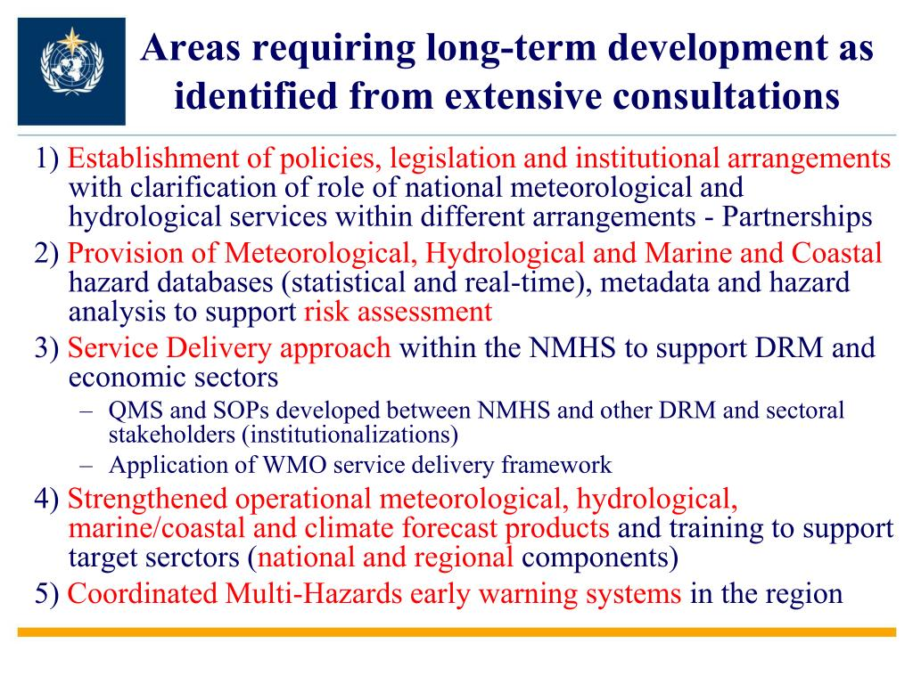 Areas requiring long-term development as identified from extensive consultations