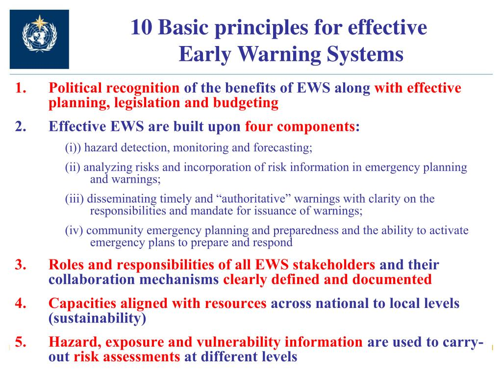 10 Basic principles for effective Early Warning Systems